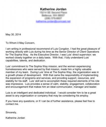 Katherine Jordan letter of recommendation