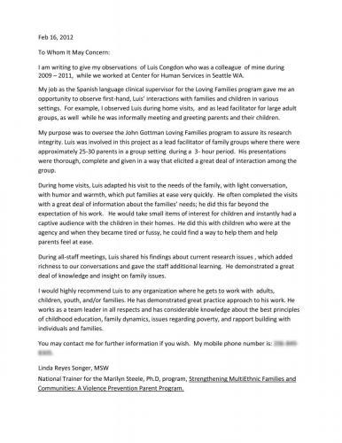 Recommendation Letter Children s Advocate (Linda Reyes)