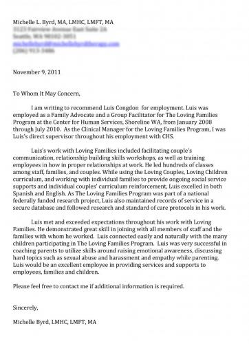 Recommendation Letter from Michelle